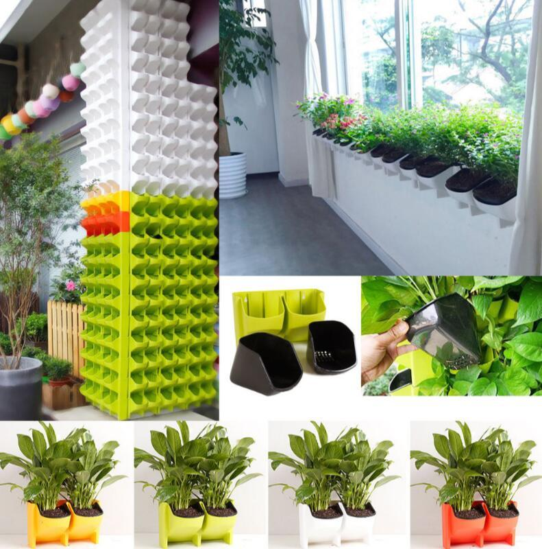 2018 2 Pocket Plastic Stackable Wall Hanging Planter Self Watering Stackable  Garden Vertical Planter Flower Pot Eea385 From Liangjingjing_no3, ...