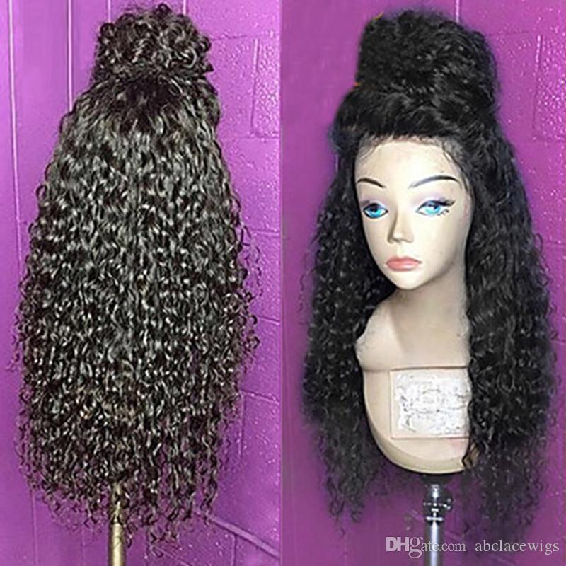 무료 배송 검정색 여자를위한 아기 머리 내열성의 Glueless 합성 레이스 프런트 가발과 고품질 검은 긴 변태 곱슬 가발