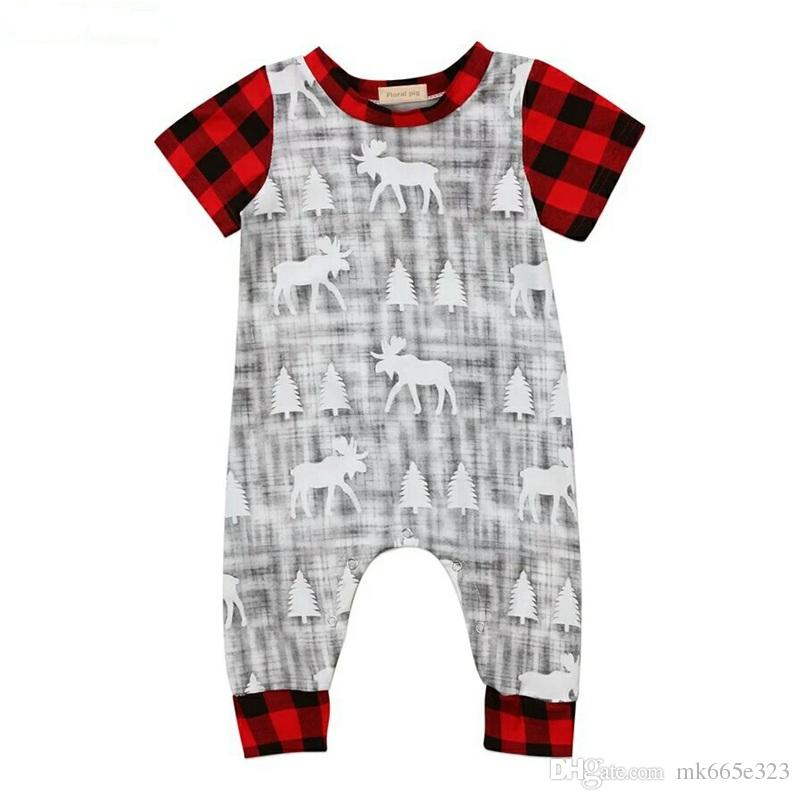 3bbbe42bf0e3 2019 Infant Rompers Baby Boys Girls Jumpsuit Christmas Cotton Plaid Short  Sleeve Clothes For Children Newborn Clothing From Mk665e323, $5.51    DHgate.Com
