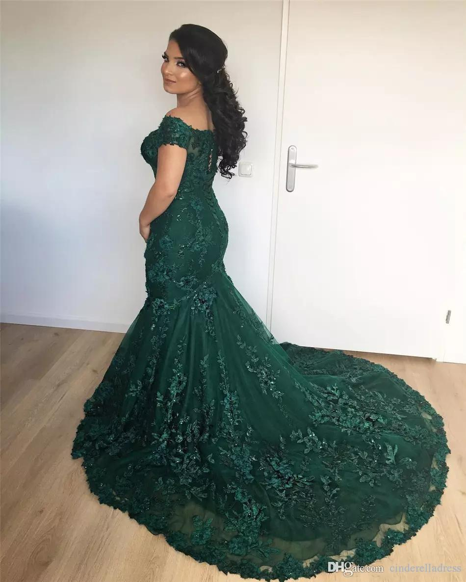 Vintage Off Shoulder Emerald Green Mermaid Evening Dresses 2018 Arabic African Lace Prom Dress Sequined Appliques Corset Back BA7204