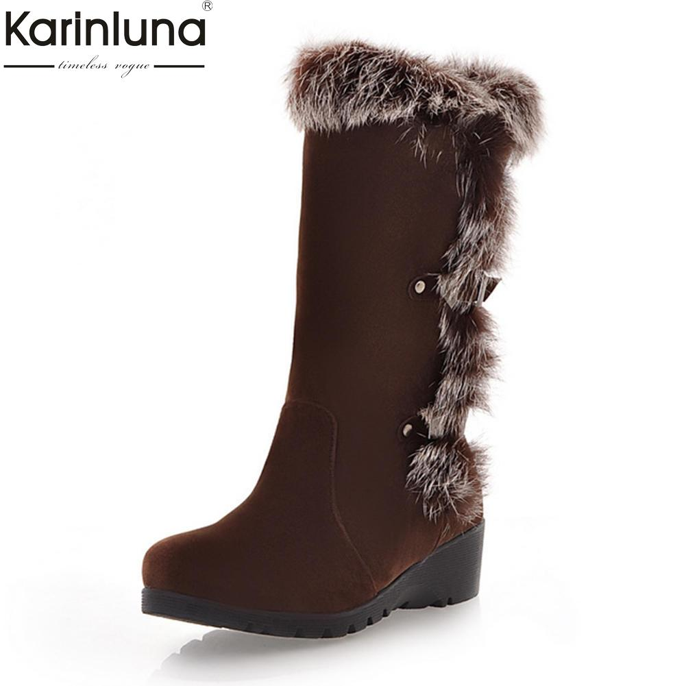 0b226bb1f98ec Compre Karinluna Tallas Grandes 33 40 Nueva Moda Tacones Cada Vez Mayores  Zapatos De Invierno Botas De Mujer Zapatillas Sin Cordones Añadir Piel Botas  A ...