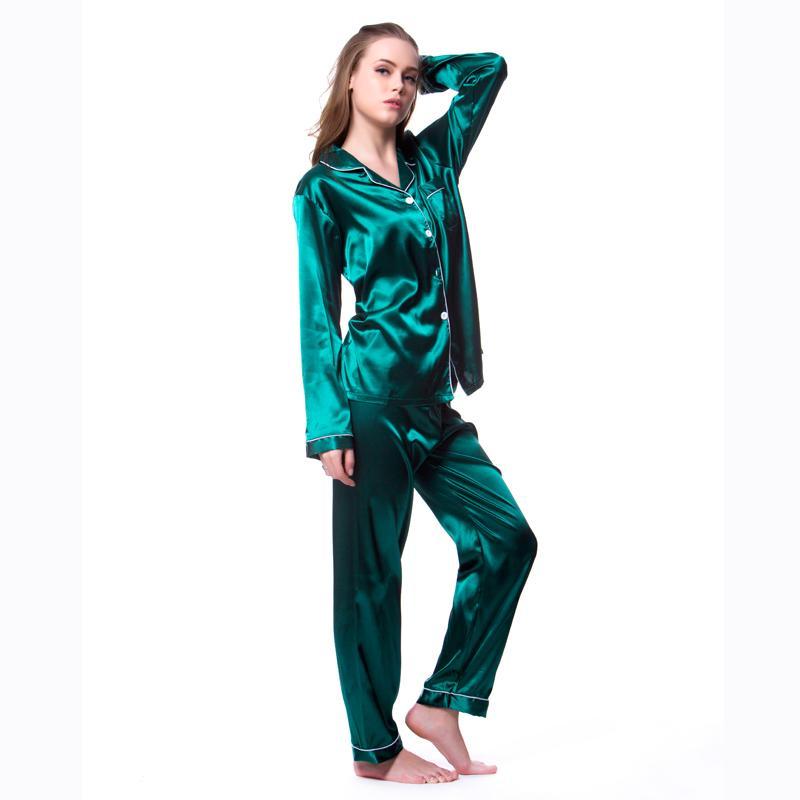 90d206bebcf5 Plus Size 5XL Pajamas Sets 2018 Women Homewear Sexy Underwear Pyjamas Silk  Satin Long Sleeve Femme V Neck Sleepwear Nightwear Ladies Christmas Pajamas  ...