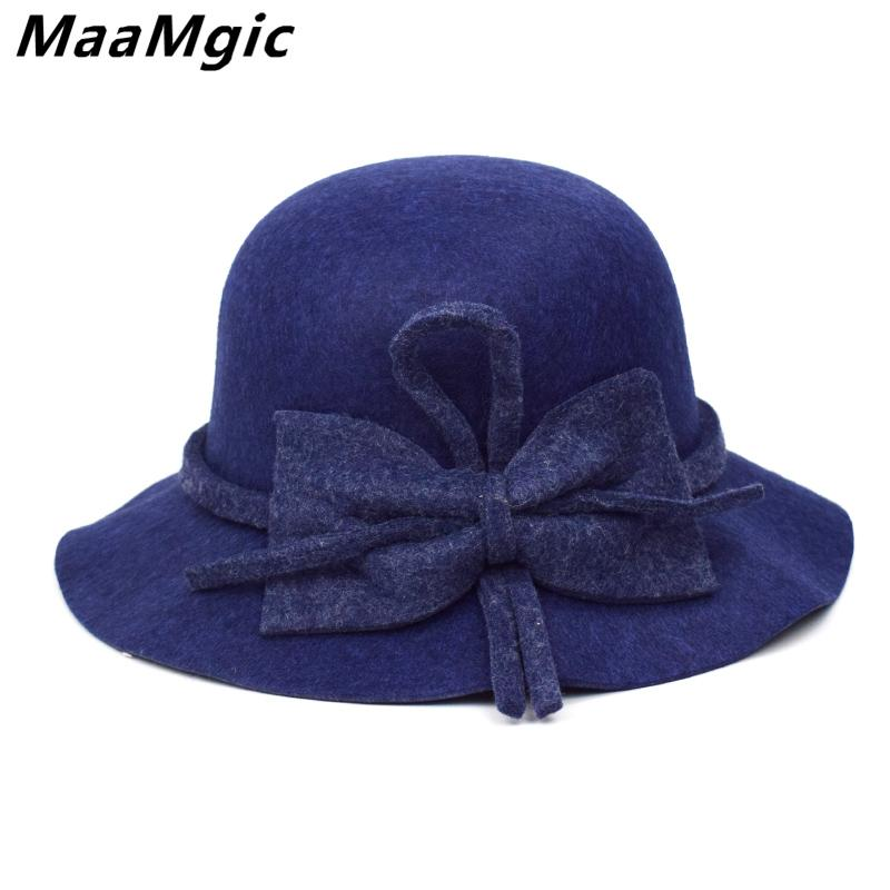 1541e2b9dde9c 2019 New Stly Autumn Winter Womens Felt Hat Fedoras Big Brim Hats For Women  British Style Vintage Hats Lady Flat Brim Fedoras From Spectalin
