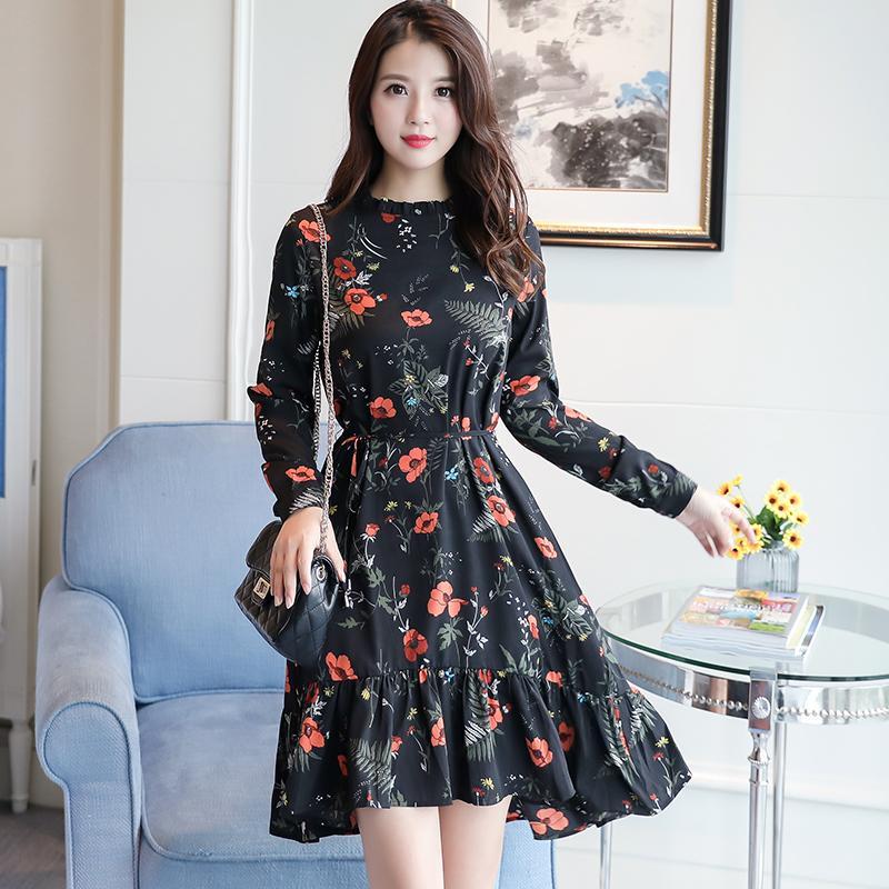 Großhandel Koreanische Mode 2018 Neue Mode Frauen Langarm Blumendruck Kleid  Frühling Mori Mädchen Blume Chiffon Kleider Rüschen Rot, Schwarz Von  Jst2015,