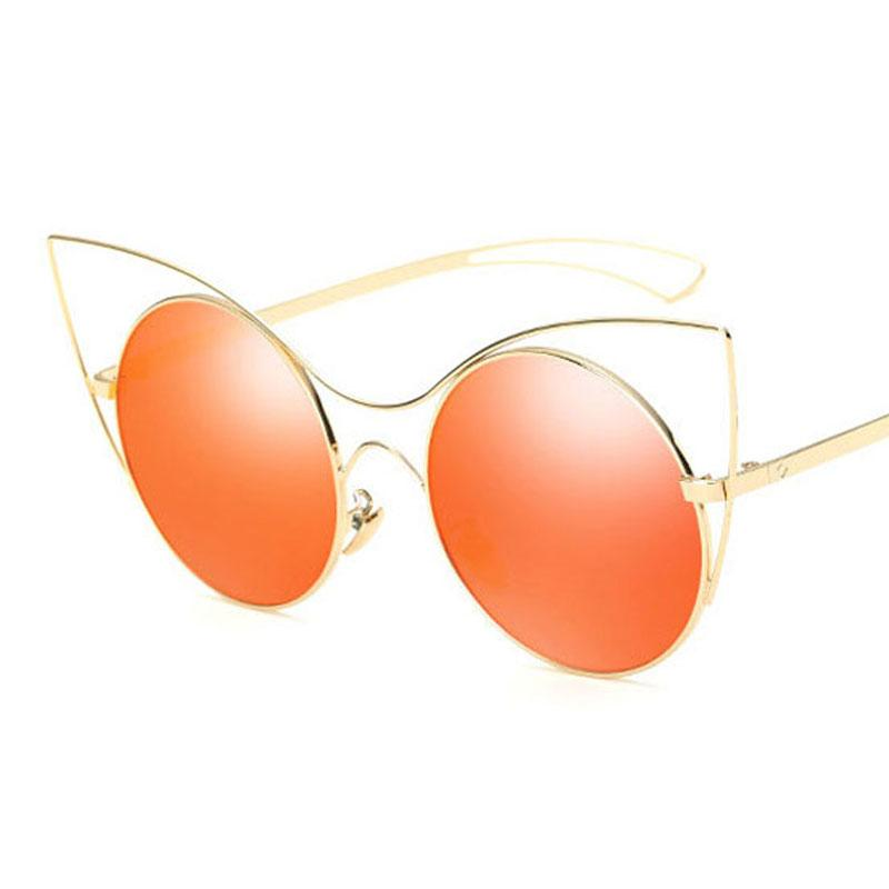 ac15f8bfa5 Compre Nueva Llegada Mujeres Ojo De Gato Gafas De Sol Lente Redonda Espejo  HD De Metal Gafas De Sol De Moda Femenina Partido De Compras De Moda  Accesorio De ...