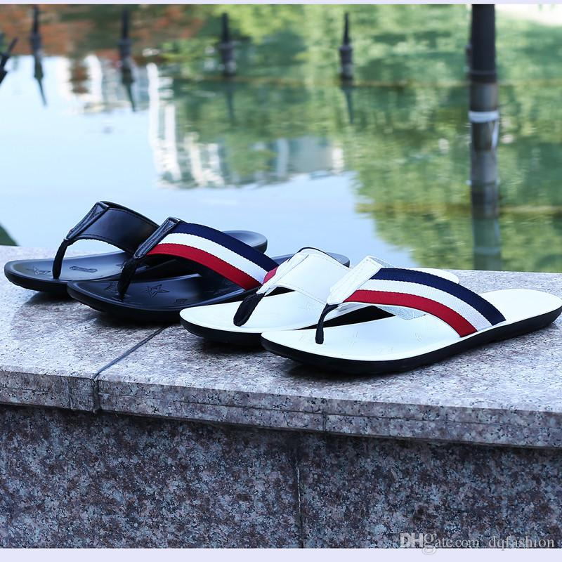 Trend men's flip flops summer pu leather British style sandals and slippers slip feet thick-soled platform sandals