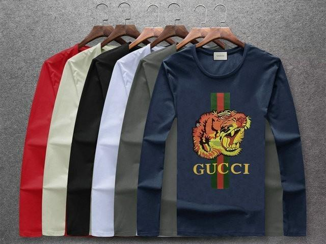 3e94cb1df7571b 2018 New Men'S Mercerized Long Sleeved T Shirt, Cotton Fabric Comfortable  Slim Model. Vertical Stripe Printing And Tiger Head Embroidery That T Shirt  But T ...