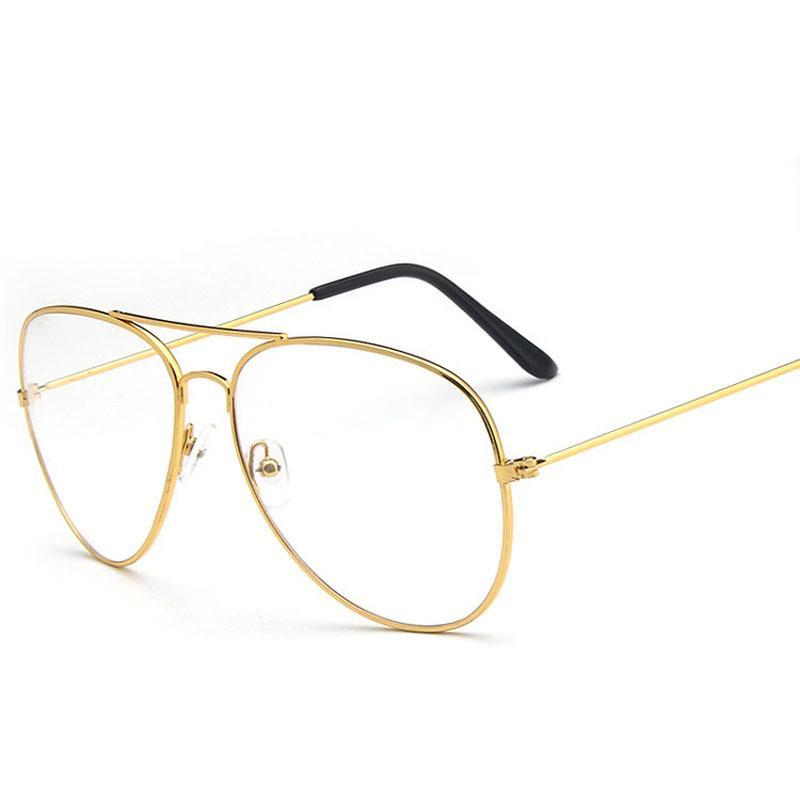 dc3c8cda50 2019 Unisex Fashion Pilot Metal Lazy Glasses Frame Large Frame Retro  Reading Glasses Ultralight Literature Plain Mirror Men Women From Haydena