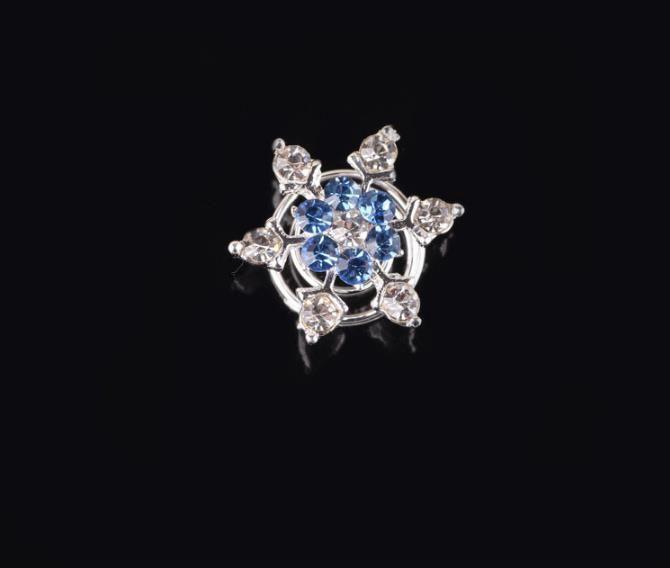 Bride Rhinestone Snowflake Spiral Hair Clips Beautiful Blue flower Hairpins Headspiece for girls wedding Hair Accessories Jewelry