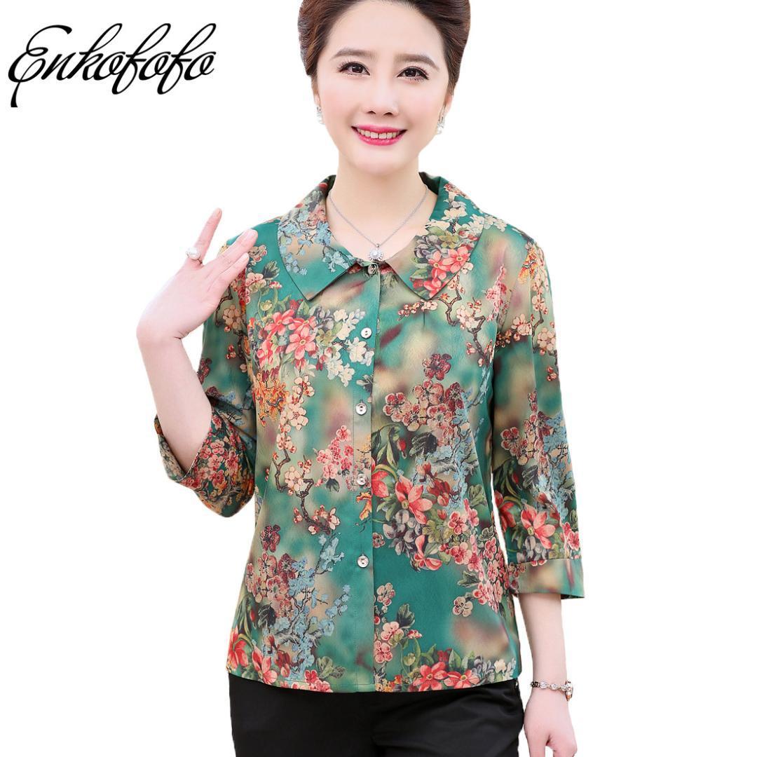 2019 2018 Spring Summer Pure Silk Print Chiffon Blouse Shirts Female