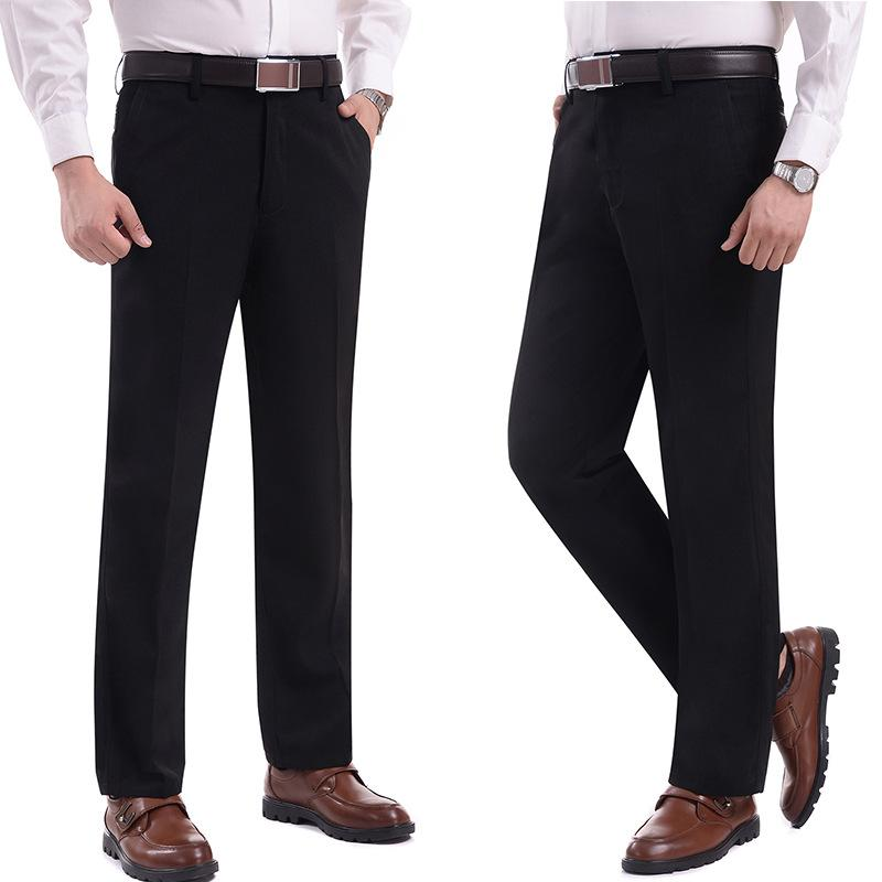 66284e67f8 Trousers Men Suit Pant Solid Color Thicked Business Casual No Ironing  Winter Pant Loose Fashion Men Gentleman No ironing MOOWNUC