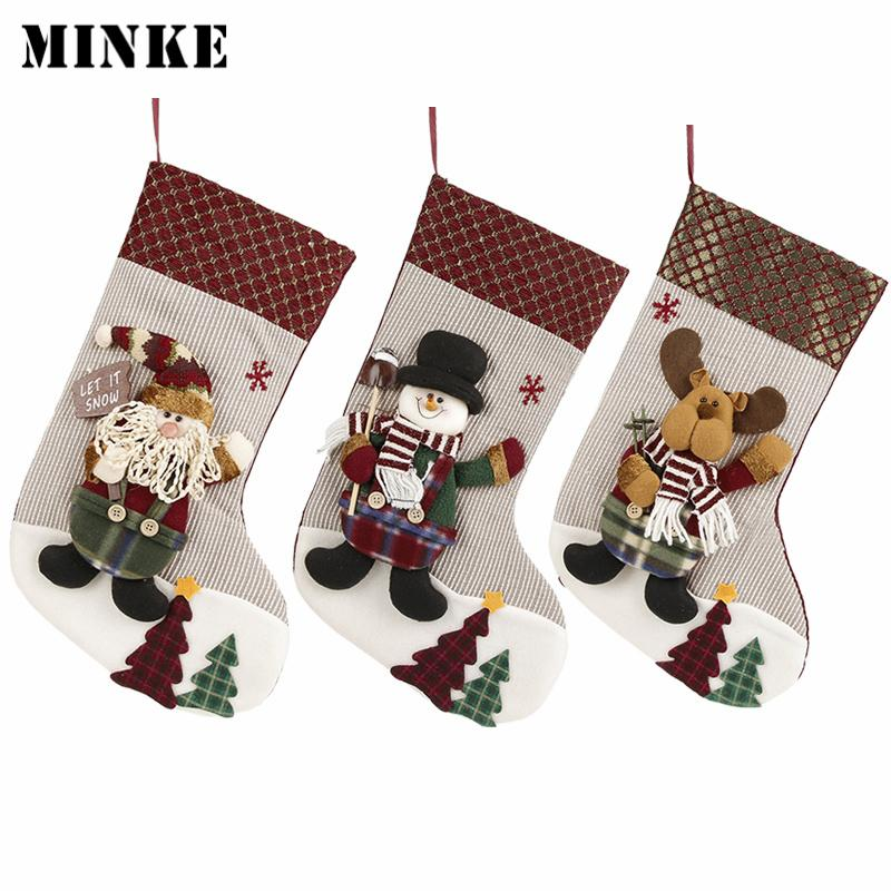3c9199d6a58 New Year Socks Christmas Stockings Santa Claus Sock Candy Gift Bag ...
