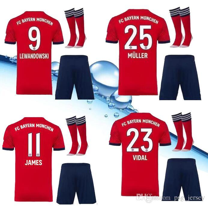 2019 Top Quality 18 19 Bayern Munich Kit JAMES RODRIGUEZ Soccer Jersey  LEWANDOWSKI MULLER KIMMICH ROBBEN KIT Jersey 18 19 HUMMELS Football Shirt  From ... 5a03ba1ba