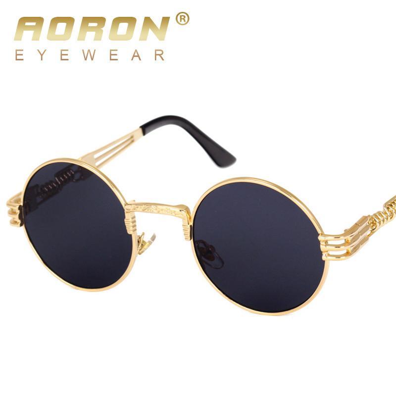 0c079eaa13b Leidisen Steampunk Sunglasses Men Women Metal Round Fashion Glasses Brand  Designer Vintage Sunglasses UV400 Eyewear Smith Sunglasses Sunglasses At  Night ...