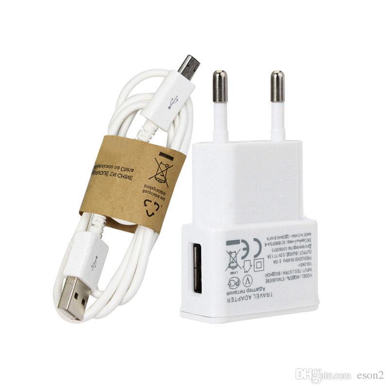 2 em 1 kits de carregador plugue 5V 2A US UE carregador de parede Adaptador + 1M Micro USB Charger Cabo com pacote de varejo Para Samsung S4 S5 LG