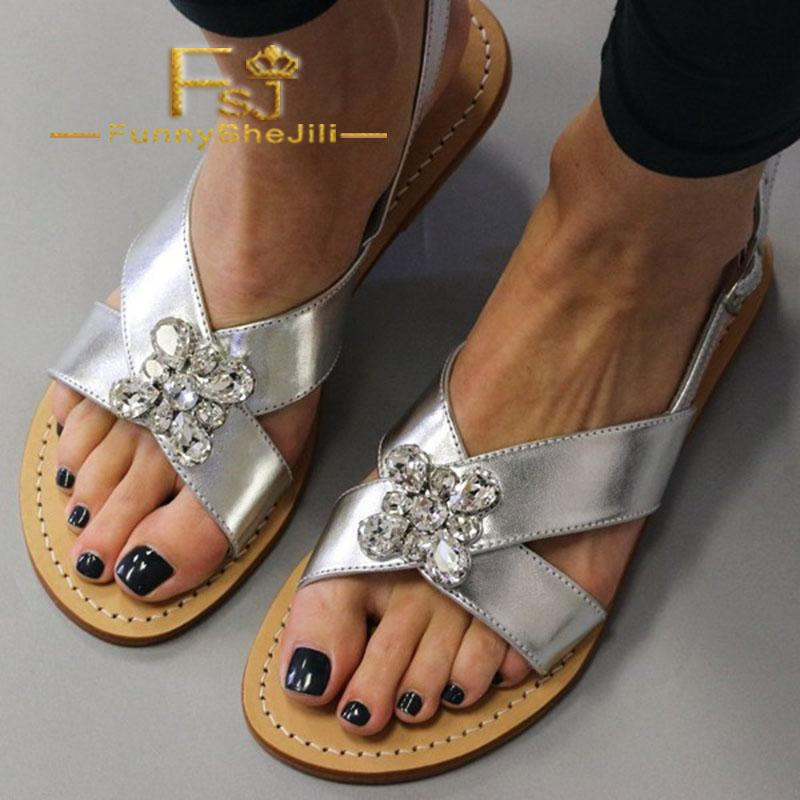 24bd7951af43 Silver Rhinestone Slingback Sandals Open Toe Flat Beach Sandals Summer  Attractive Generous Incomparable Noble Elegant FSJ Sexy Wholesale Shoes  Sandles From ...