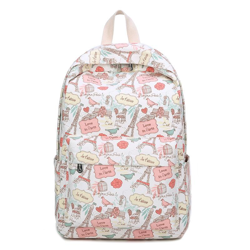 2441e2edd7cc Eiffel Tower Backpacks Cartoon Flower Printing School Backpack Canvas  Schoolbags For Teenage Girls Students Bag Cat Printing NEW Gregory Backpacks  Army ...