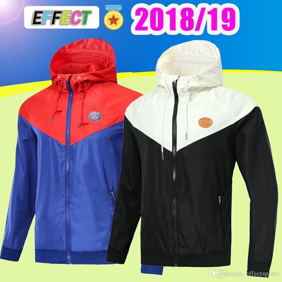 Thailand Quality 2018 Paris Full zipper windbreaker long sleeve jacket coat  2019 psg Red and blue winter sports windbreaker hoodie plus