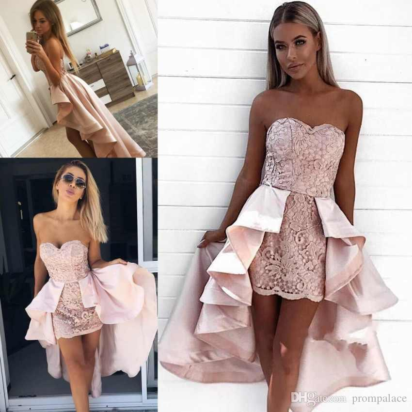 Sexy New Pink Homecoming Dresses Sweetheart Neck Sleeveless Lace Appliques Satin  Short Prom Cocktail Graduation Gowns Red Lace Homecoming Dress Sexy Dress  ... f63961e69