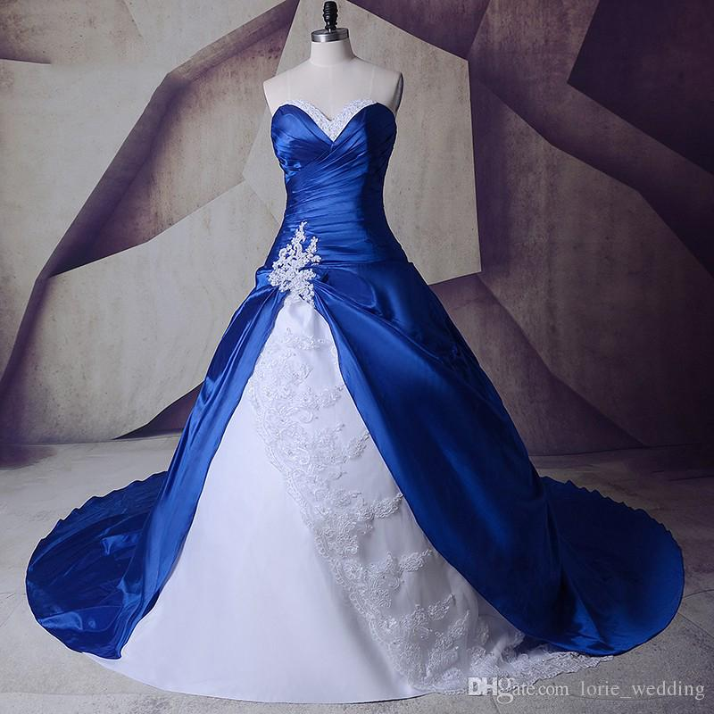 5adc08273f8 Discount LORIE 2019 Gothic Royal Blue Cathedral Train Wedding Dresses With  White Lace Ball Gown Custom Made High Quality Bride Gown Wedding Gowns  Online ...