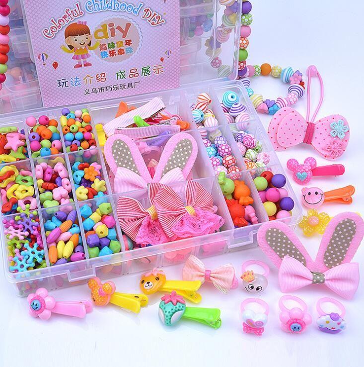 Mädchen DIY Perlen Kit Lernspielzeug Bunte Schmuck Haarschmuck Machen Kits Puzzle Spielzeug Übung Kinder Kreativität Geschenk