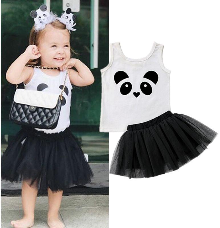 8e04085ad48546 Panda dos desenhos animados crianças meninas vestidos roupa roupas de duas  peças set vest saia roupas de bebê vestido de festa de verão princesa ...