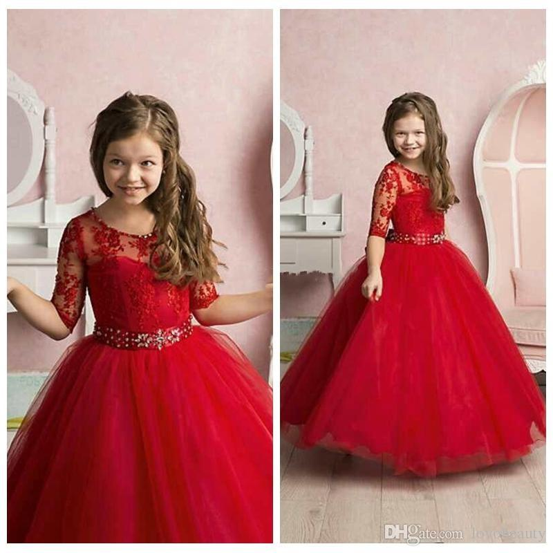 2018 Red New Pricness Flow Girl's Dresses Sheer Crew Neck Half Sleeves Lace Appliques Beaded Belt Elegant Kid's Formal Girls Pageant Dresses