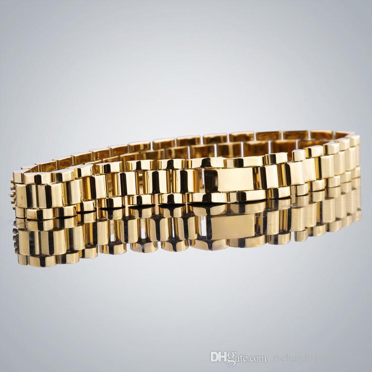 Bracelet en or 18 carats en acier inoxydable bracele tissé à la main Bracelet en or pour femmes et hommes
