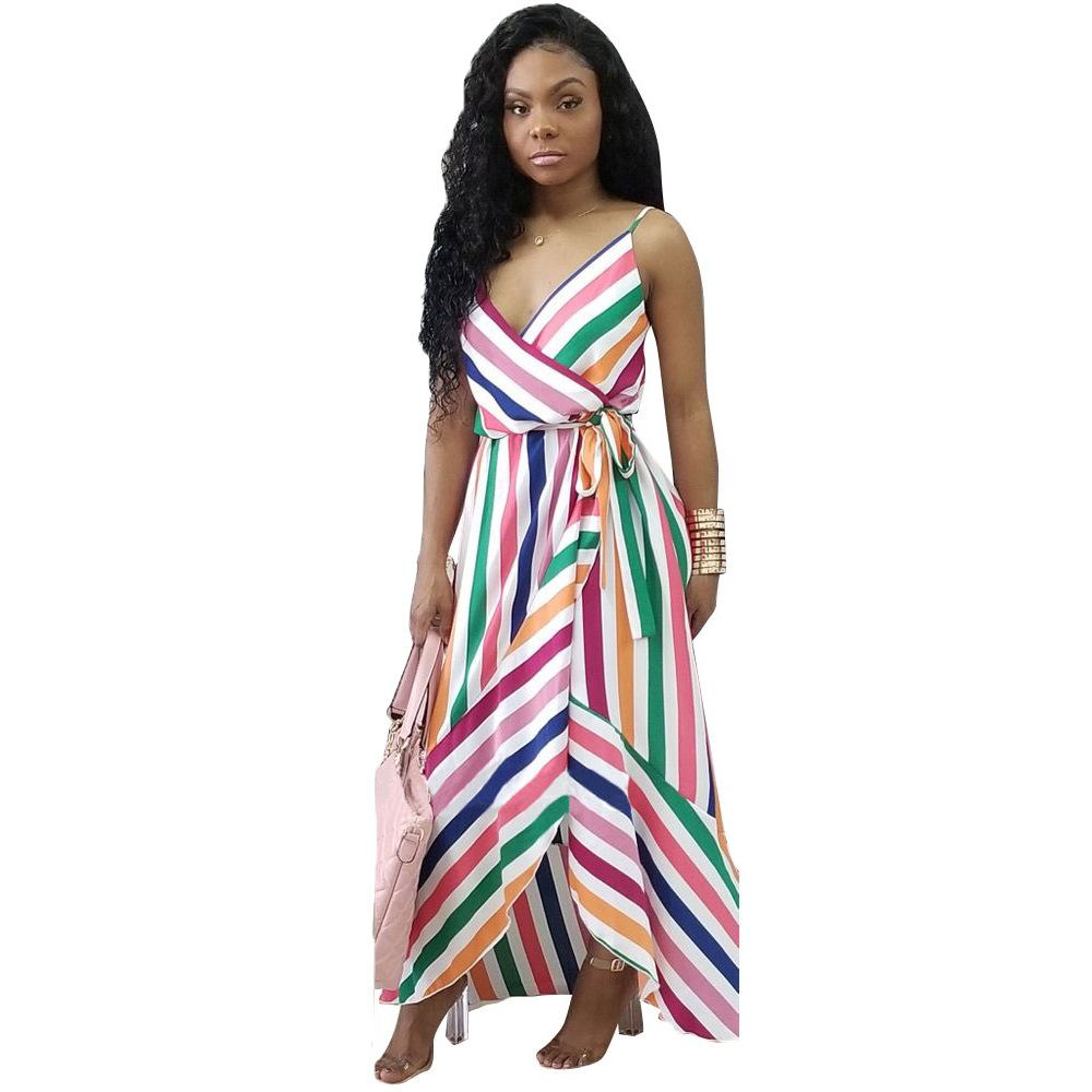 350889d07c154 Sashes Strap Stripe Print Women Dress Fashion Casual Summer Bandage Long  Maxi Bodycon Sexy Dresses Vestidos