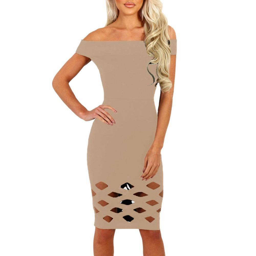 d3ffa8ce5c Sexy Women Midi Bodycon Dress Solid Off Shoulder Hollow Out Gothic Vestidos  Short Sleeve Elegant Party Clubwear XL Dress 2017 Sundress On Sale Dresses  For ...