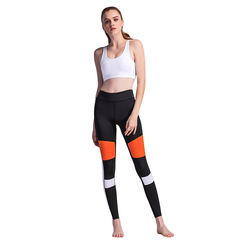 2018 New Fashion Sexy Women Fitness Pants Leggings Color Block Workout Skinny Casual Trousers Black