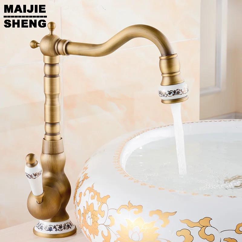 2018 2016 Ceramic Antique Brass Faucet Bathroom Sink Faucet Blue And ...