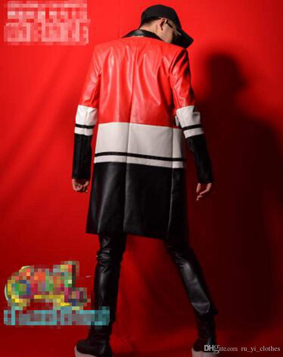 Edición de hombre de la nueva personalidad de la moda cantante bar trajes de la etapa cantante vestido de baile en tres colores costuras largo traje de PU M - 2 xl