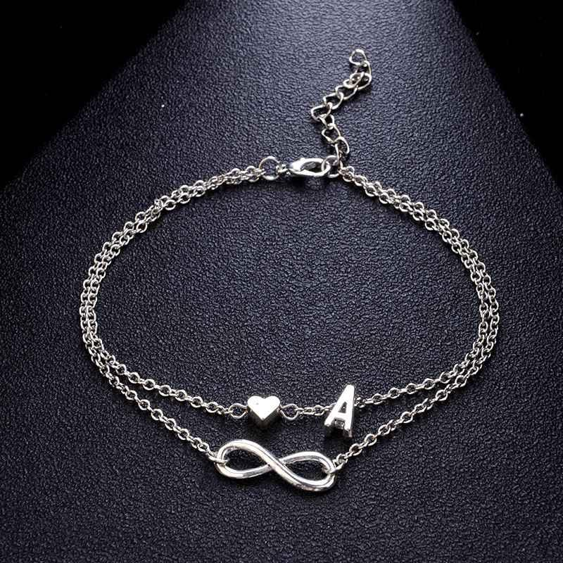 39ce75c5f 2019 Personalized Silver Initial Name Anklets With Infinity Charm Beads Ankle  Bracelets For Women Layered Anklets Letter Beach Foot Jewelry From  Tw jewelry
