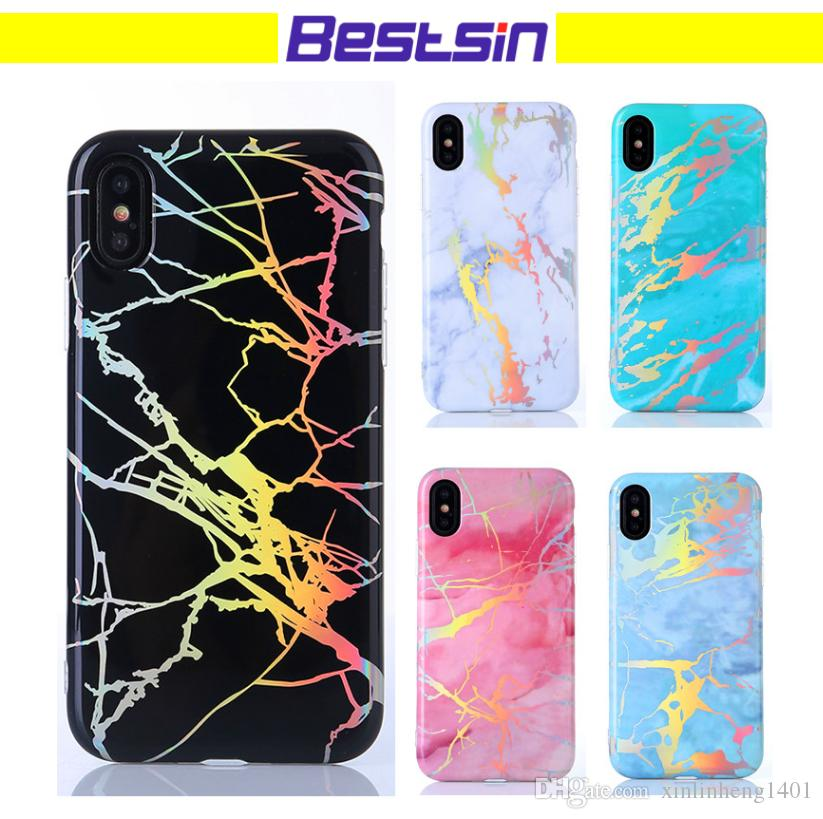 release date 88b37 0eccc For iPhone X 8 7 6 6S Plus Laser Marble Design Cover Case Sparking Shiny  Bling Felxible Soft TPU Defender Case Free Shipping