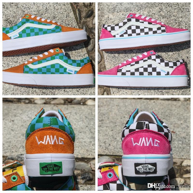dd751d0745d 2019 2018 New Golf Wang Old Skool Checkered Designer Shoes Zapatillas De  Deporte Womens Mens Trainers Pink Green Casual Canvas Sports Sneakers From  Weile