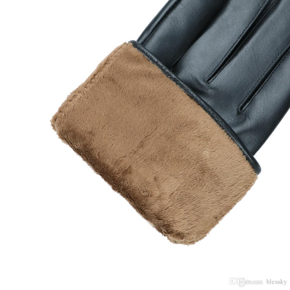 Men Gloves Natural Leather Male Winter Warmer Gloves Made of Italian sheepskin Fashion Plush Lining touch screen Driving Mittens
