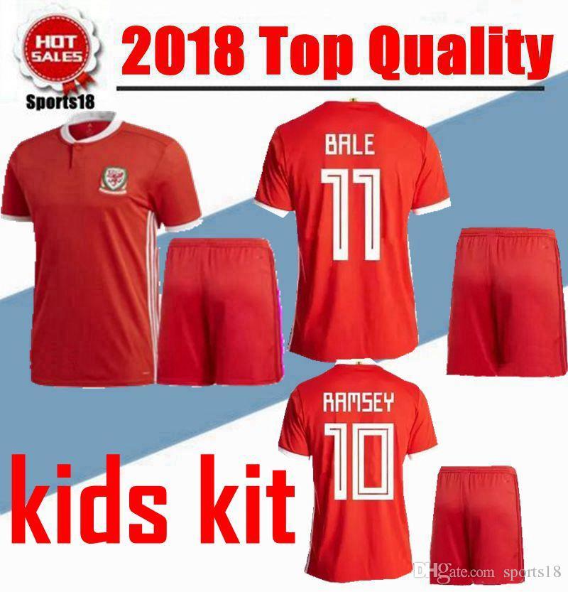 Compre 2018 País De Gales Crianças Jersey De Futebol Em Casa Vermelho 18 19  Kits De Menino Da Juventude Aaron Ramsey Gareth Bale Allen Robson Kanu  Williams ... 15297e7c5a0ab
