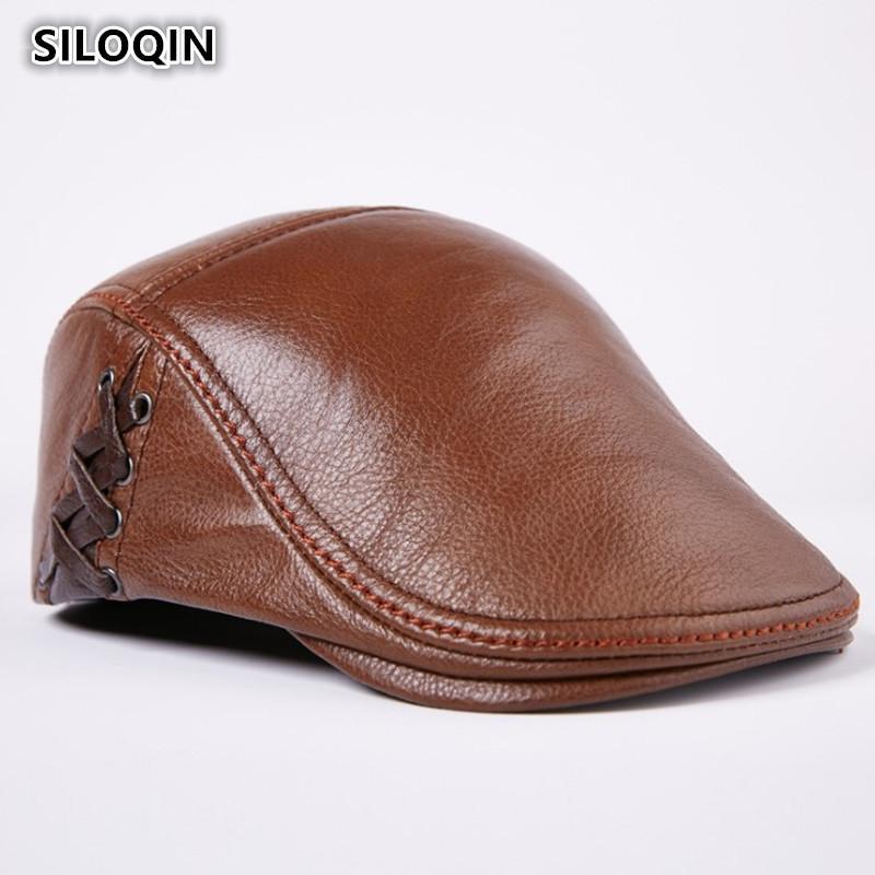 SILOQIN Winter Warm Men s Genuine Leather Cap Cowhide Berets For Adult Men  Personality Hip-hop Trend Brand Male Bone Visor Caps Berets Cheap Berets  SILOQIN ... 8a2d5896ba9b