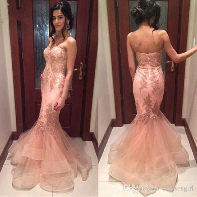 Mermaid Peach Prom Dresses Long Sweetheart Appliques Abiti da sera Economici Custom Made Abito da festa formale