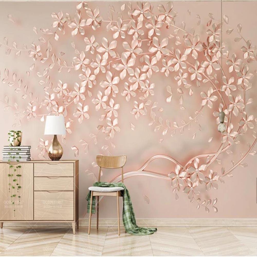 Acheter 3d Or Rose Fleur Imprime Murale Photo Papier Peint Grande