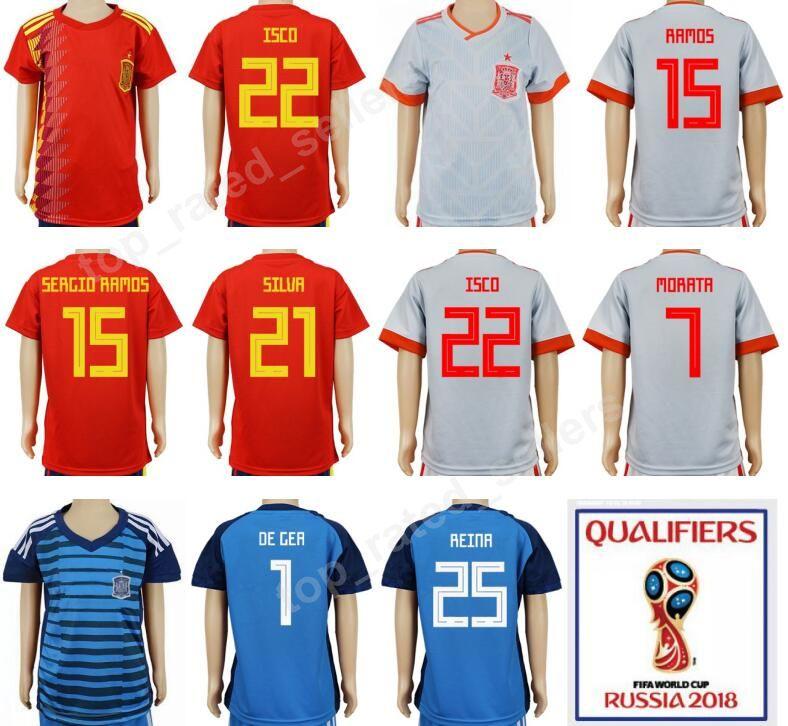 dc512c02a Soccer Children Youth Jersey Spain Kids Football Shirt 2018 World Cup 15  Sergio Ramos 21 David Silva 1 Iker Casillas 10 Cesc Fabregas Red Youth  Jersey Spain ...