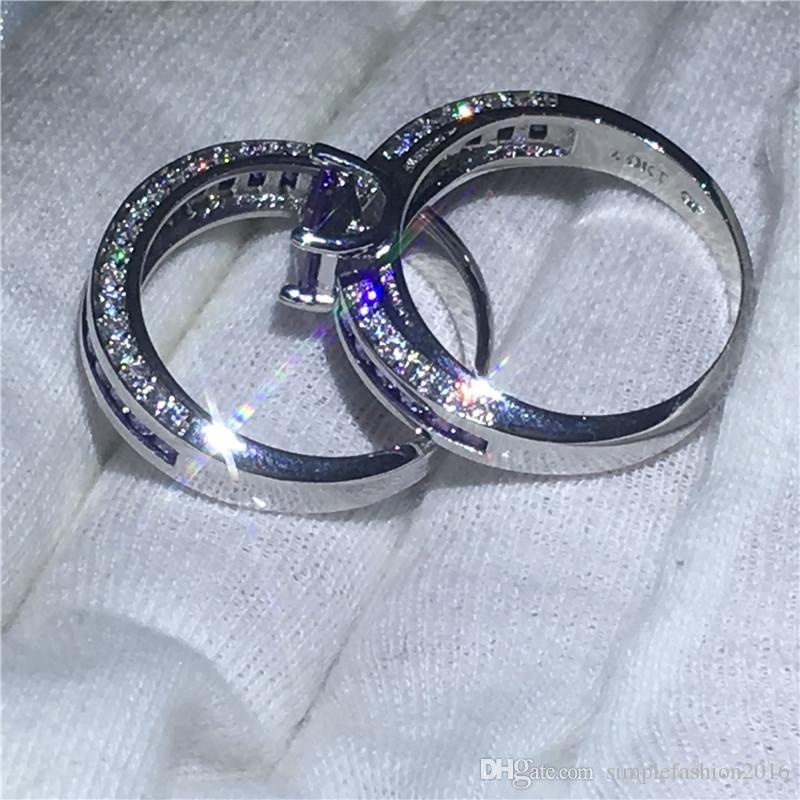 2018 casal anel de aniversário Set 10KT White Gold Filled anéis de noivado de casamento banda para mulheres Roxo 5A zircão Jóias Presente