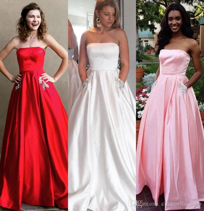 2fea0c15dea Modest Prom Dresses With Pocket 2018 Strapless Crystal Sweep Train Satin Long  Red Light Blue Evening Party Pageant Gowns Cheap Customized Cheap Prom  Dresses ...