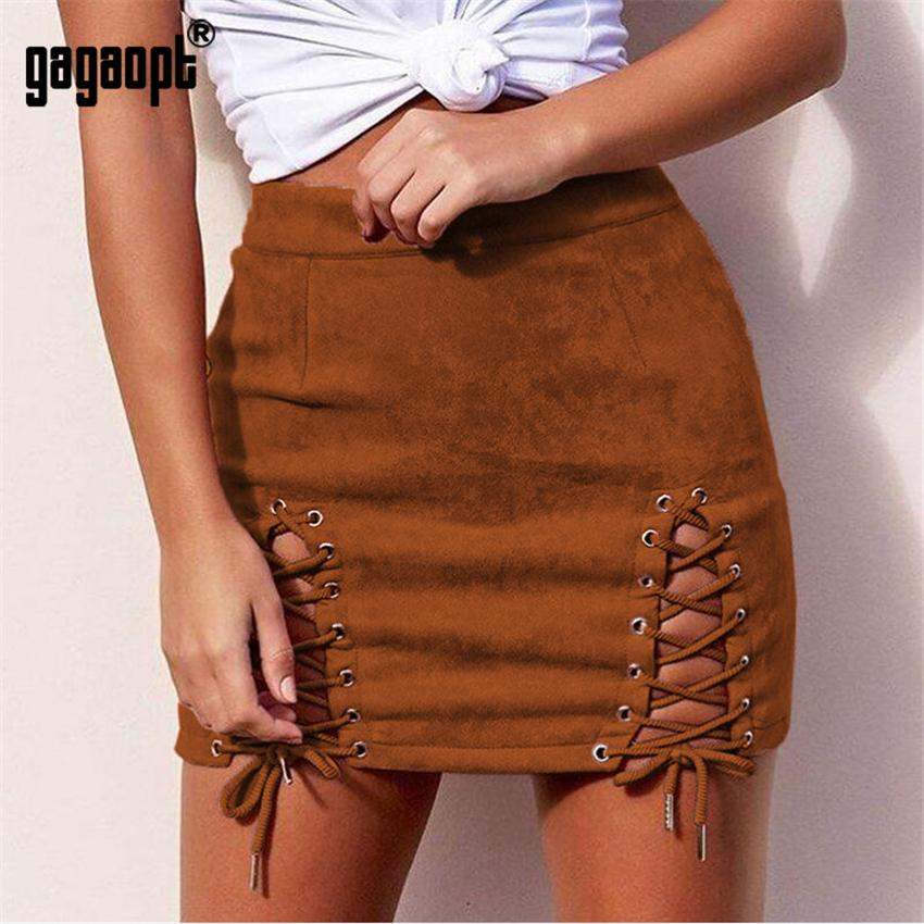 b6244e551a Compre Gagaopt High Street Skirt 2018 Otoño Mujer Suede Bandage Hollow Out  Color Sólido A Line Mini Skirt Negro Marrón Gris Rosa 4 Tallas A  26.07 Del  ...