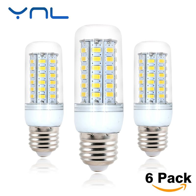 YNL 6PCS 220V Lampada LED Lamp Bulb 24 36 48 56 69 LEDs Chandelier SMD 5730 Candle LED Light For Home Decoration