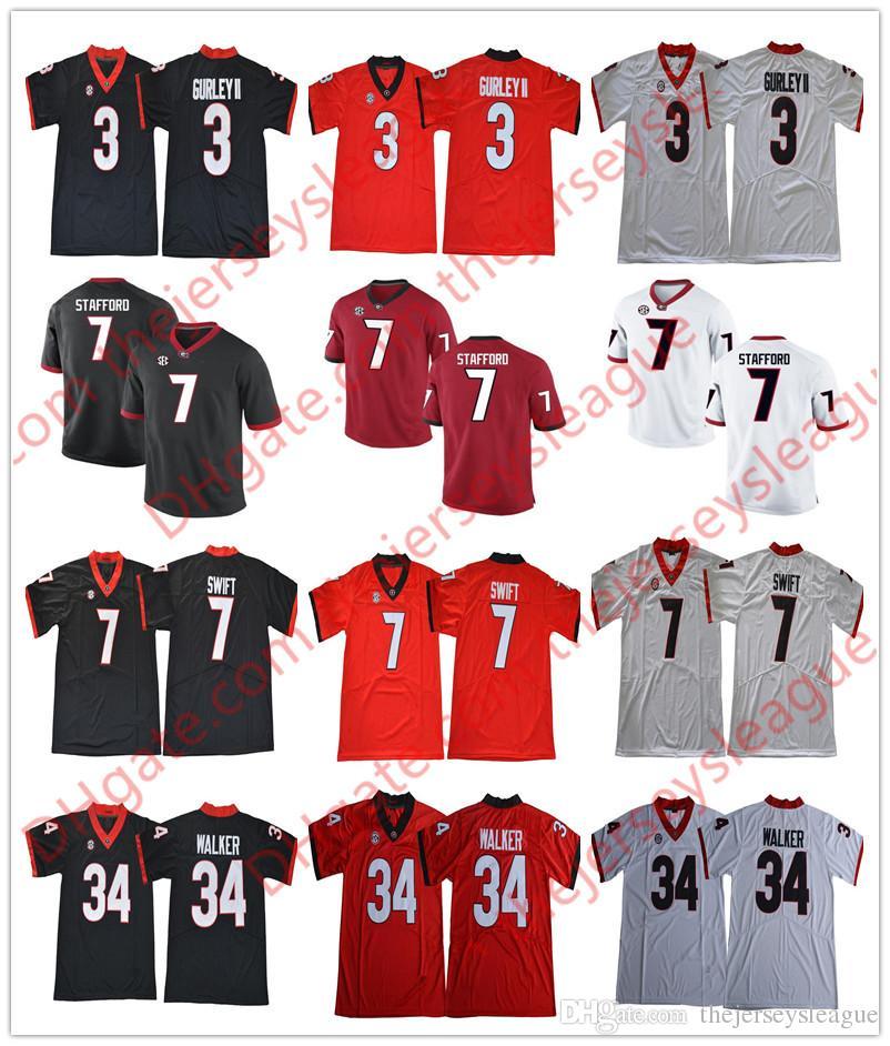 2019 Georgia Bulldogs  3 Todd Gurley II 7 Matthew Stafford 34 Herschel  Walker White Red Black Retired Stitched College SEC UGA Jerseys S 3XL From  ... aebc60855