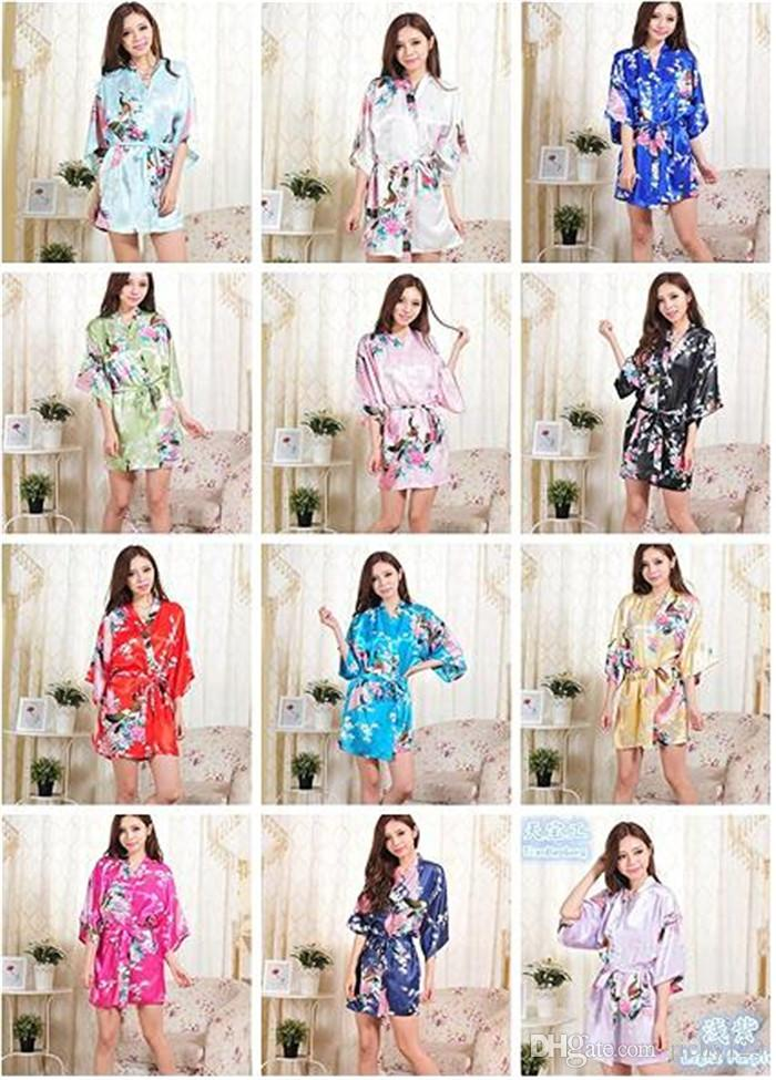 10pcs 14 Colors S-XXL Sexy Women's Japanese Silk Kimono Robe Pajamas Nightdress Sleepwear Broken Flower Kimono Underwear D713