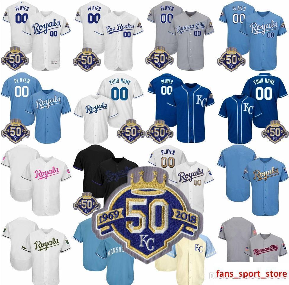 af7d8da08 2019 Custom 1969-2018 50Th Season Patch Men's Royals Baseball Jerseys  Stitched any Name Any Number Flex Base Cool Base Jerseys