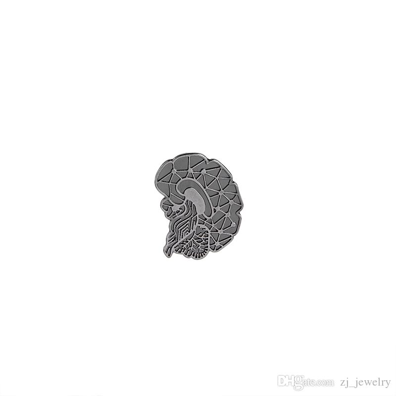 vintage Brain Brooches Pins Cartoon Human Organs Medical Brain lapel pin  badge Enamel Lapel Pins Women Girl denim Clothing hat